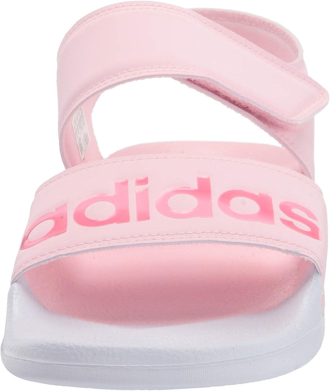adidas Women's Adilette Sandal Slide, Clear Pink/Cherry Metallic/White, 7