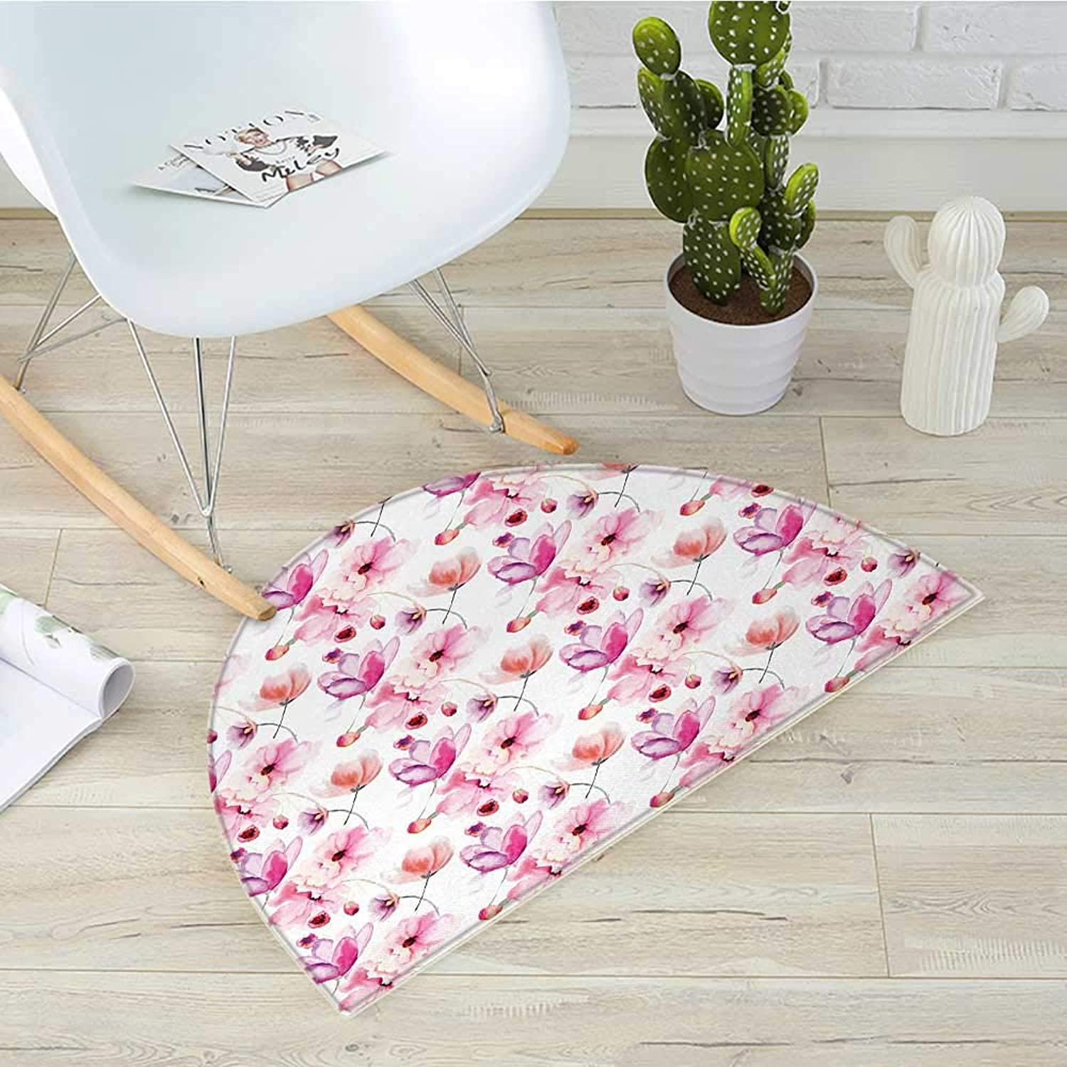Floral Half Round Door mats Watercolor Painting Style Blooming Flowers Spring Nature Botanical Artwork Bathroom Mat H 43.3  xD 64.9  Pink Purple Coral
