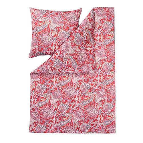 ESTELLA Bettwäsche Milano   Rot   135x200 + 80x80 cm   bügelfreie Interlock-Jersey-Qualität   pflegeleicht und trocknerfest   ideale Vier-Jahreszeiten-Bettwäsche   100% Baumwolle