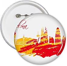 Hand-Painted City Silhouette Red Yellow Barcelona Art Round Pins Badge Button Clothing Decoration Gift 5pcs