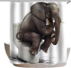 Shower Curtain Elephant Pooping on Toilet Design for Bathroom Waterproof Polyester Fabric Bathtub Curtain with 12 Plastic ...