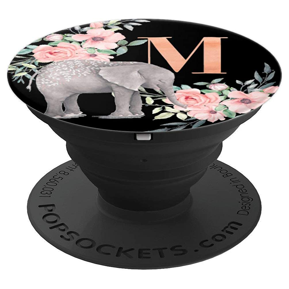 Elephant Flowers Black Monogram Name Initial Letter M - PopSockets Grip and Stand for Phones and Tablets
