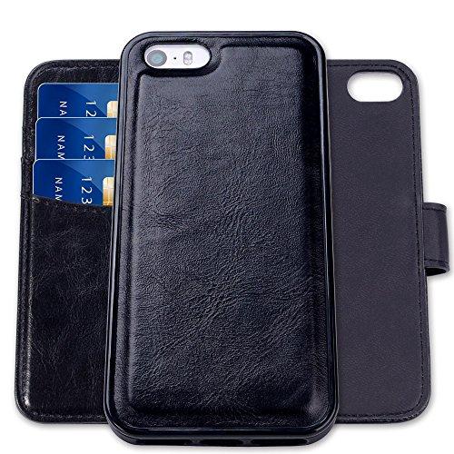 SHANSHUI Kompatibel mit iPhone 5 / 5S /SE Hülle, 2in1 Doppelschutz herausnehmbare Klapptasche mit RFID Schutz, Kartenfach für Bankarte & Geldschein, Geldbeutel-Style mit Magnetverschluss(Schwarz)