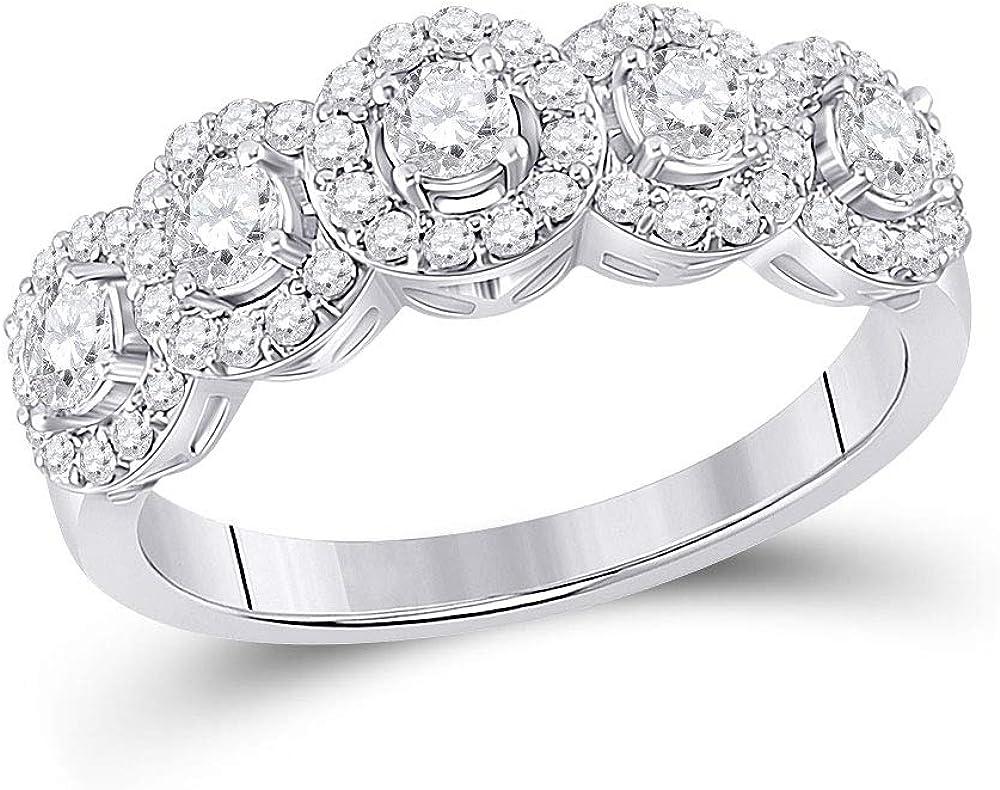 14kt White Gold Round Diamond Anniversary Women for Popular overseas Wholesale 5-Stone Ring