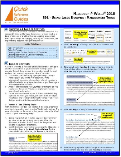 Microsoft Word 2010 Quick Reference Guide: Using Large Document Management Tools (301)