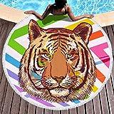 Wraill - Toalla de playa redonda con diseño de tigre y estampado de animales, para picnic, camping, viaje, rizo, suave toalla de ducha con borla, poliéster, blanco, 150 cm