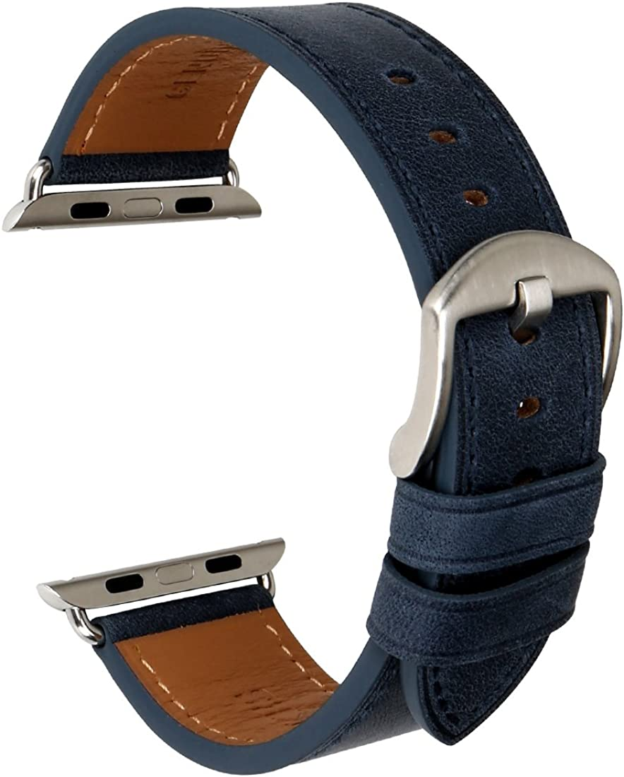 MAIKES Compatible with Apple Watch Band 44mm 40mm 42mm 38mm, Genuine Leather Watch Strap Replacement for Apple Watch Series 6/5/4/3/2/1 iWatch SE (Blue+Silver Buckle, 40mm) …
