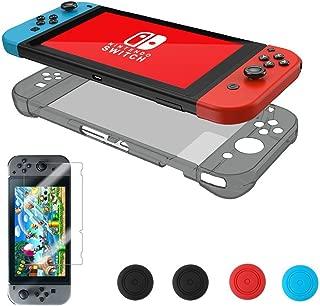 Nintendoスイッチハードバックケース、voridaクリスタルケースクリアカバー傷&衝撃吸収9h強化ガラススクリーンプロテクター+ Joy Conグリップキャップ グレー NSC-001G