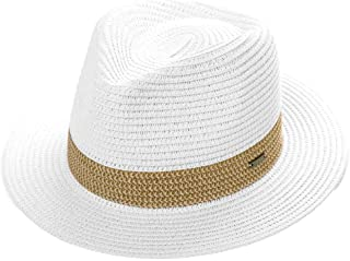 c12250a612fe4a Mens Packable Raffia Straw Panama Fedora Havana Summer Beach Derby Hat  Trilby for Women 56-