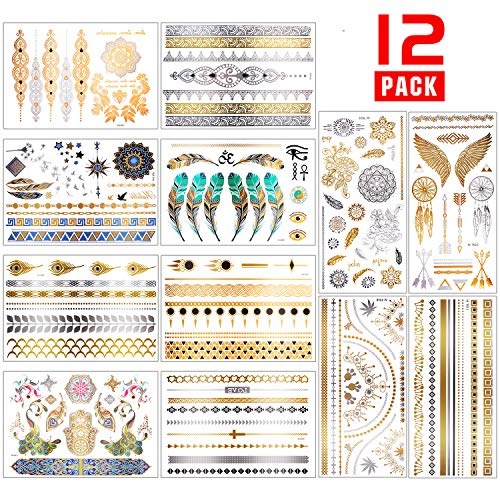 Chefic Temporäre Tattoo 200 Design, Metallic Boho Tattoos Wasserdicht Klebetattoos Aufkleber, Gold Silber Glitzer Festival Tattoos Kinder Tätowierung Armband Fußkette Finger Body Art- 12 Blätter