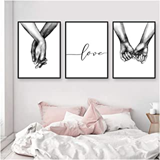 YIYAOFBH Poster Black and White Holding Hands Picture Canvas Prints Lover Quote Painting Wall Art for Living Room Minimalist Decor-60x80cm No Frame