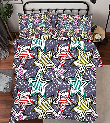 Peinture 3d Rose Vert Bleu étoile 341 Parure de lit Taie d'oreiller Parure de lit avec housse de couette simple Queen King   3d Photo Parure de lit, AJ papier peint britannique Sept