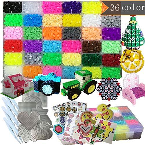 PPEEGOO Lote de 11100 Abalorios Perler,5mm 36 Colors (6 Brillar en Oscuridad) 8 Plantillas 4 Pinzas + Papel de Hierro de los Granos DIY de Perler Caja de fusibles de 5 mm Hama Beads