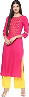 Jaipur Kurti Rayon Rani Pink & Yellow Embroidered Kurta and Palazzo Set