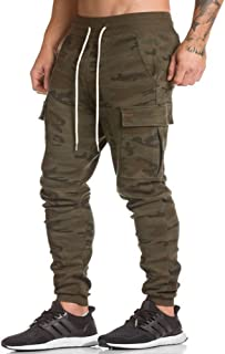 EVERWORTH Men's Gym Fitness Workout Pants Bodybuilding Tapered Athletic Joggers Running Pants with Zippered Cargo Pockets