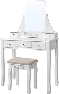 VASAGLE Makeup Vanity Table Set with Large Frameless Mirror, Makeup Dressing Table Set for Bedroom, Bathroom, 5 Drawers an...