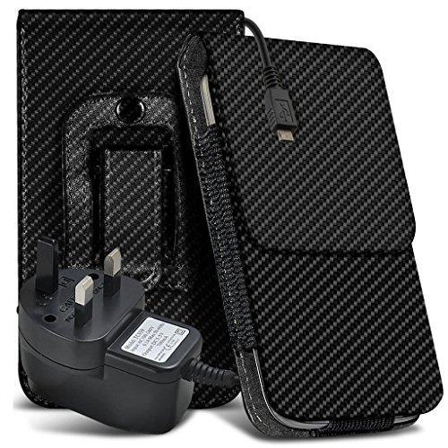 N4U ONLINE Alcatel Idol 3C Premium Karbonfaser Tasche Gürtel Holster Schutzhülle und Netzladegerät