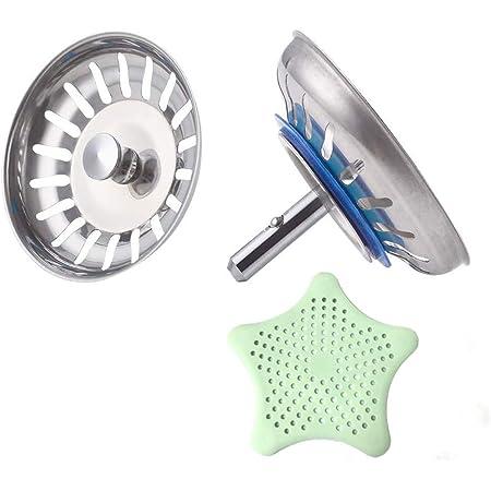 Scarico a pavimento Tappo in acciaio inossidabile antiodore Resistente filtro lavello in silicone o da bagno Colapasta anticorrosione Antiparassiti Accessori da cucina flessibili come mostra di foto