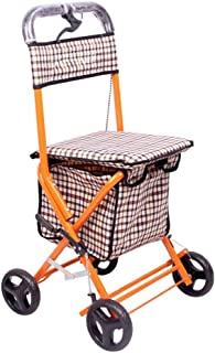 Mobility Aids & Supplies Walker Light Folding Scooter Senior Four-foot Cane Wheelchair Can Take Shopping Cart Travel Troll...