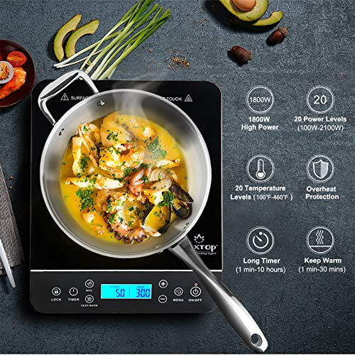 Product Image 2: Duxtop Portable Induction Cooktop, Countertop Burner Induction Hot Plate with LCD Sensor Touch 1800 Watts, Silver 9600LS/BT-200DZ