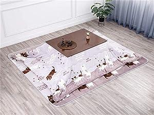 AntiGnor 2020 New Kotatsu Table Nordic Design Solid Oak Wood Japanese Furniture for Living Room Casual Heated Center Tea Tatami Table (Color : Brown Set)