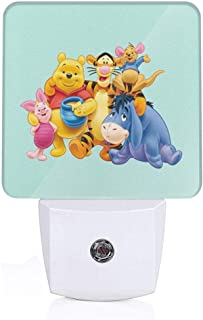 MPJTJGWZ LED Night Light with Auto ON/Off and Dusk to Dawn Sensor, Winnie The Pooh for Bedroom Bathroom Dark Room