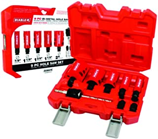 Freud DHS09SGP Diablo 9 Piece High Performance Hole Saw Set For Drilling Wood, Plastic, Aluminum, Metal Stainless Steel, ...