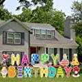 Phedrew Happy Birthday Yard Signs with Stakes 18 Pieces Happy Birthday Decorations Weather-Proof Water-Proof Letters Cupcake Birthday Hat Outdoor Lawn Decorations Party Decorations
