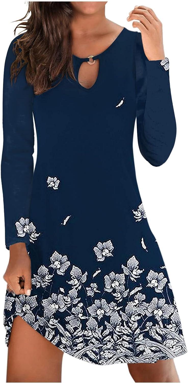 Casual Dresses for Women, Womens Fashion Floral Long Sleeve Crew Neck Summer Beach Loose Short Dress Mini Sundress