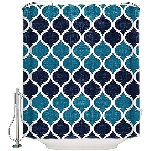 Searster$ Shower Curtain Marokko Lido Qua-Trefoil Geometrisches Muster Stoff Duschvorhang Blau Navy Badezimmer Dekor Sets Mit Haken,72X72 In