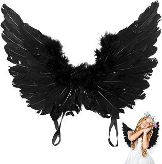 Comficent Alas de �ngel Feather caído Cosplay Vestido para los Cabritos Halloween Carnival Negro