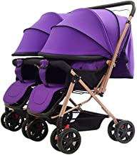 MYRCLMY Baby Strollers Twins and Tandem Pushchairs Reversible Seat Convertible to Carrycot Lightweight with Convertible Bassinet Stroller Extended Canopy/Large Storage Basket,Purple