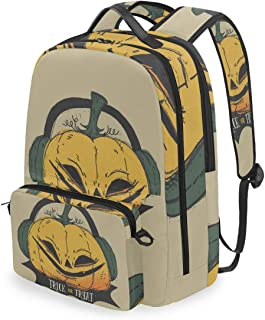 Mochila con bolsa cruzada desmontable, diseño de calabaza de Halloween para ordenador, bolsa de libro para viajes, senderismo, acampada