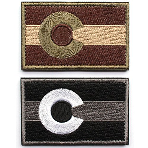 Bundle 2 Pieces - Tactical Colorado State Flag Patch with Backing Multi-tan Black White Decorative Embroidered Appliques