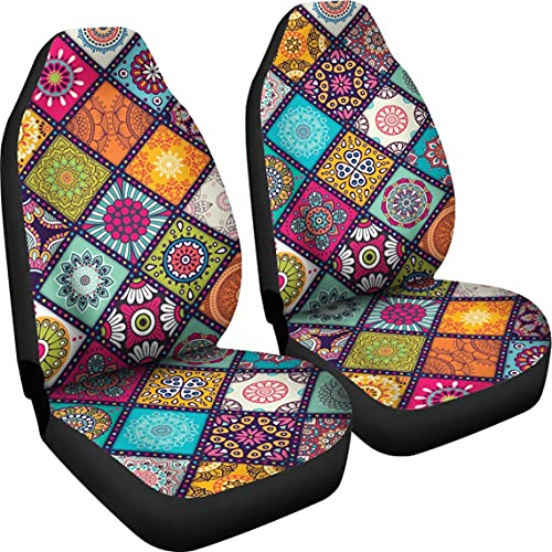 SWEETSHOPZ Peace Mandala Pattern Car Seat Automobile Covers Car Seat Protector for Women Men Auto Seat Covers Set of 2 (Multi)