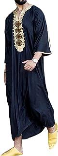keepwo Men's Muslim Robes Moroccan Thobe Saudi Arabia Ethnic Long Shirts Dishdasha Arab