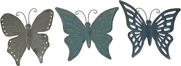 Things2Die4 Blue And Grey Metal Art Butterfly Indoor Outdoor Wall Sculpture Set Of 3