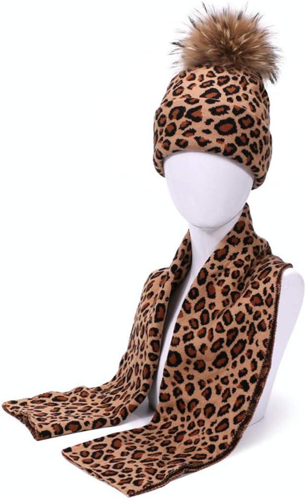 DALIN 2 St/ück Winter Frauen Pompon Beanie M/ütze Schal Set Leopard Warm Kunstfell Pom Pom Caps