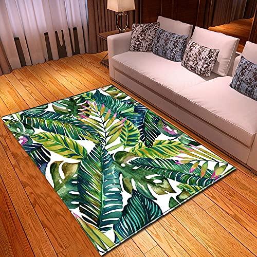 CQIIKJ Alfombra Estampada Hoja de plátano Verde Blanco Alfombra Antideslizante Alfombra Lavable 80 x 160 cm para la Entrada de casa, baño o Dormitorio Lavandería