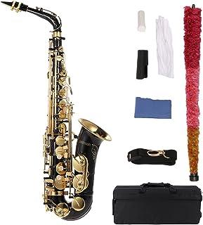ammoon bE Alto Saxofon Latón Lacado Oro E Flat Sax 82Z Tipo de Clave Instrumento de Viento de Madera con la Escobilla de Tela Guantes Cork Grease Acolchado Caso Correa