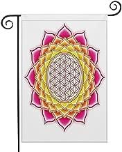 HOOSUNFlagrbfa Flower of Life Sacred Geometry Pattern Inside Lotus Petals Yoga Zen Image Garden Flag 12 x 18 Inch Garden Yard Flag for Home Seasonal Outdoor Decor