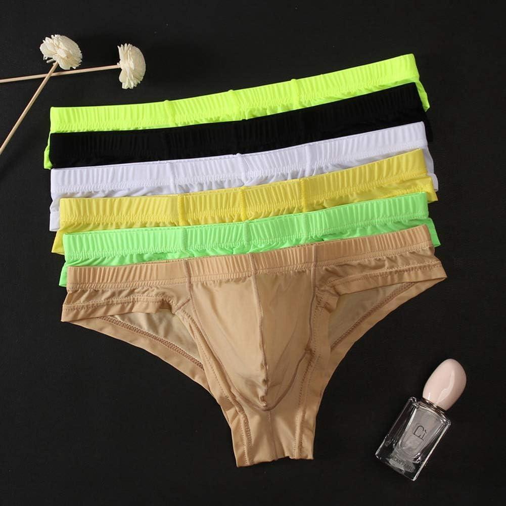 ZEGOO Mens Ice Silk U Convex Thongs See-Through Briefs