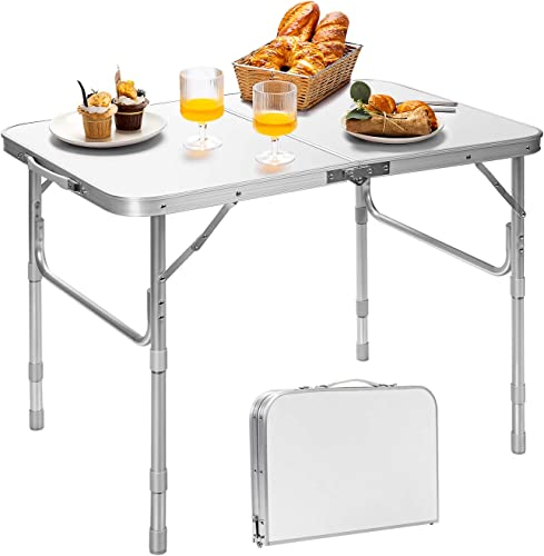 2021 Giantex wholesale Folding Table Portable Camping Table W/3 Adjustable Heights, Aluminum new arrival Lightweight Picnic Table W/Carrying Handle for Outdoor Cooking Picnic Camping Party BBQ (35.5''L x 24''W x 26''H) online sale