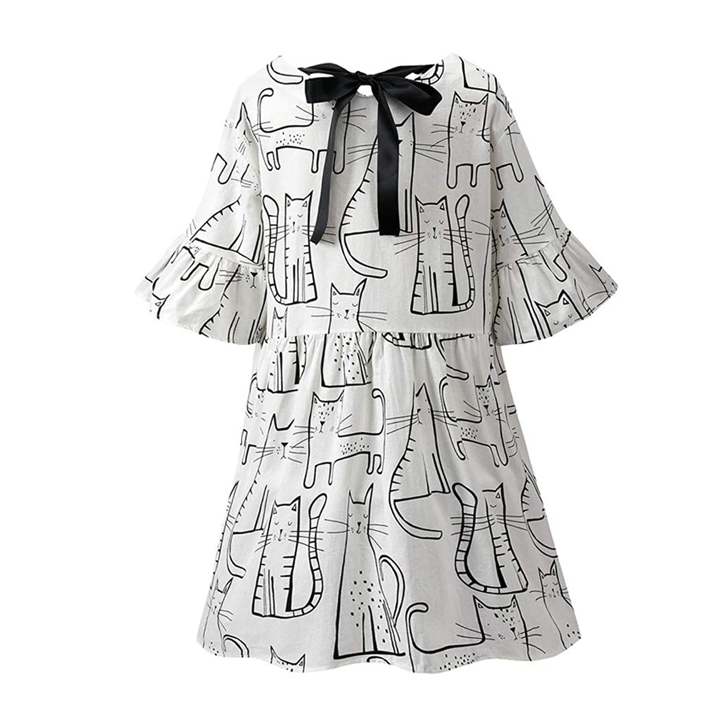 LONGDAY Women Summer Dress Cotton Linen T-Shirt Crew Neck Print Shirt Mini Dress Plus Size Comfy Top Swing Loose Blouse
