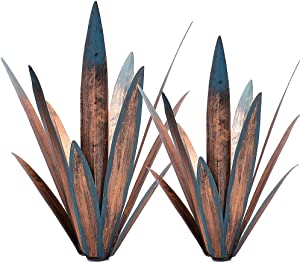 2pcs Tequila Rustic Sculpture DIY Metal Agave Plant Home Decor Rustic Hand Painted Metal Agave Garden Ornaments Outdoor Decor Figurines Home Yard Decorations Stakes Lawn Ornaments