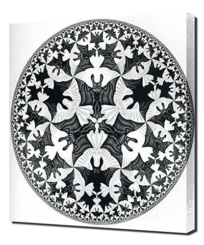 M.C. Escher - Bat-Plate-patroon - Hoge kwaliteit ingelijst Canvas Art Print Reproductie