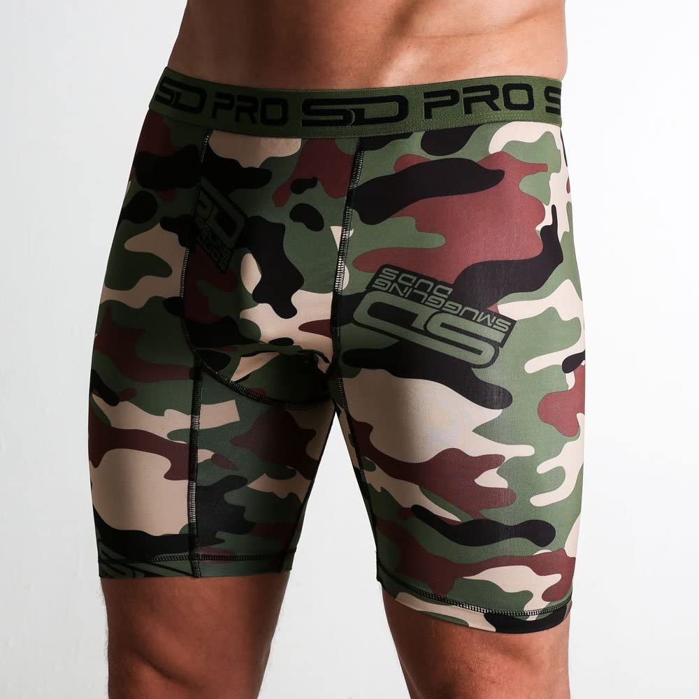 SD Pro Range Compression Shorts Fitted Soft Cool Quick Dry Sports Training Shorts with Groin Protector Guard Pocket Pouch