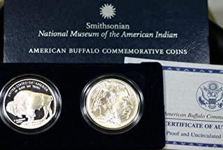 2001 Smithsonian Museum of the American Indian - American Buffalo Commemorative 2-Coin Silver Dollar Set Gem Proof and Brilliant Uncirculated Coins with Original Box and COA US Mint