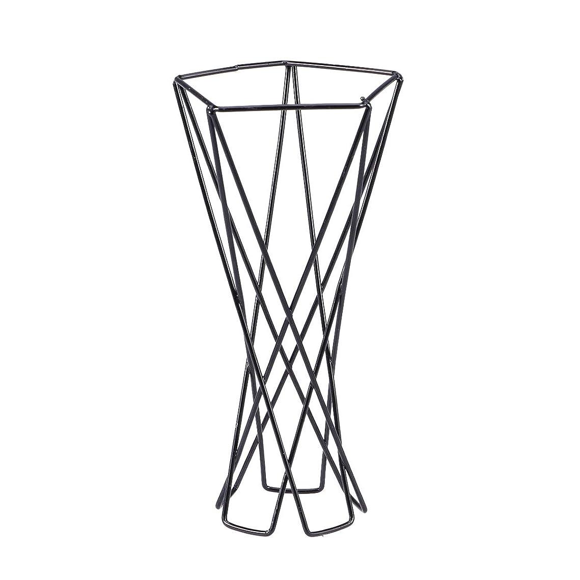 汗漏斗内訳Yardwe ミニ上品なメタルエアプラントスタンドシンプルでエレガントな幾何学的な多肉植物ホルダー(ブラック)