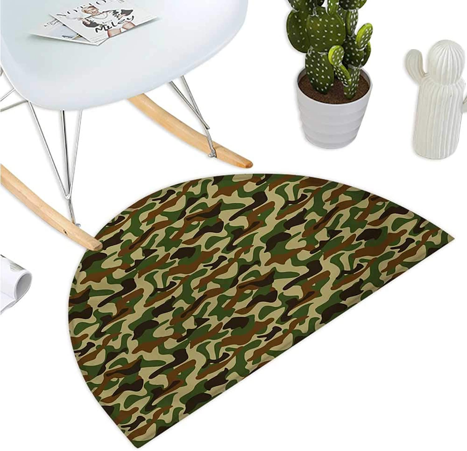 Camouflage Semicircular Cushion Squad Uniform Design with Vivid color Scheme Hunting Camouflage Pattern Halfmoon doormats H 39.3  xD 59  Green Brown Khaki